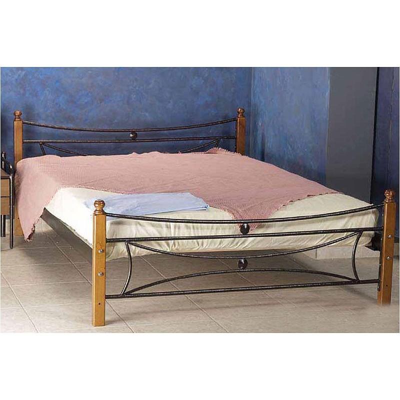 κρεβάτι μεταλλικό ξύλο πόδι Μαρργαρίτα